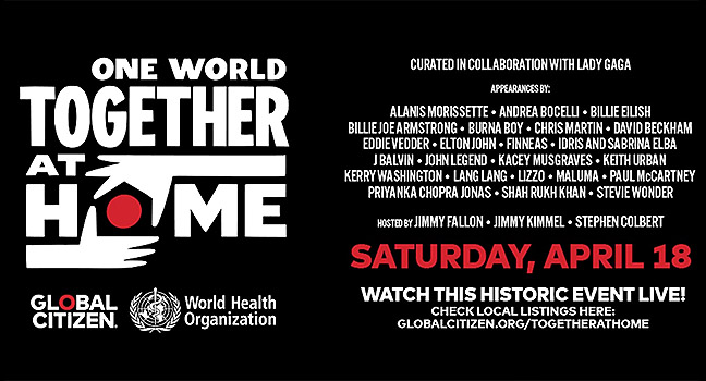 "News | Δείτε όλους τους αγαπημένους Stars στη φιλανθρωπική, διαδικτυακή συναυλία ""One World: Together Αt Home"""